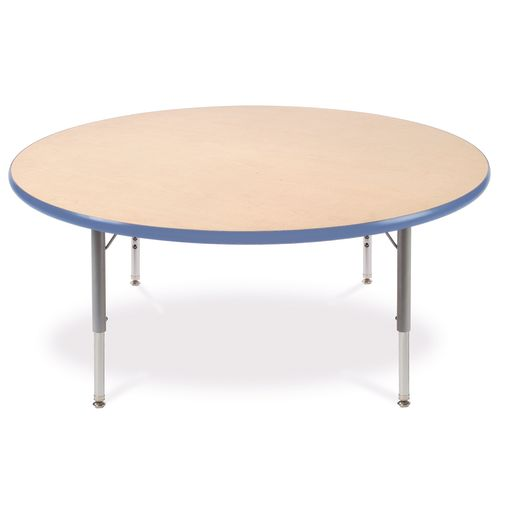 "48"" Round 4000 Banded Tables 17""-25""H - Maple / Sy Blue"