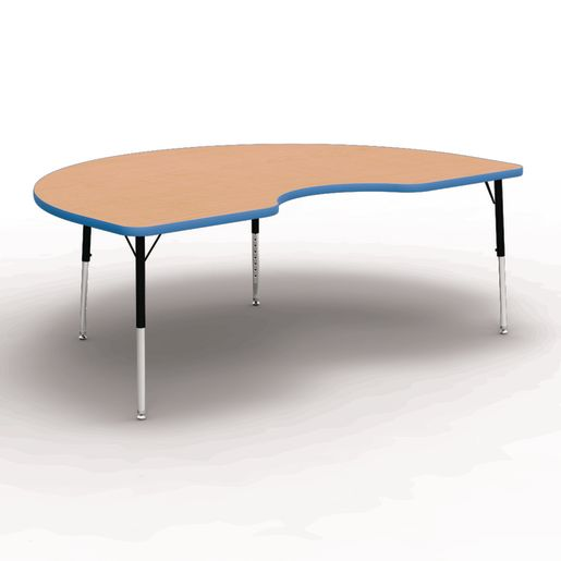 "48"" x 72"" Kidney 4000 Series Preschool Table - Maple / Sky Blue"