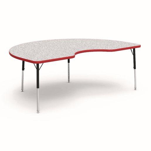 "48"" x 72"" Kidney 4000 Series Preschool Table - Gray / Red"