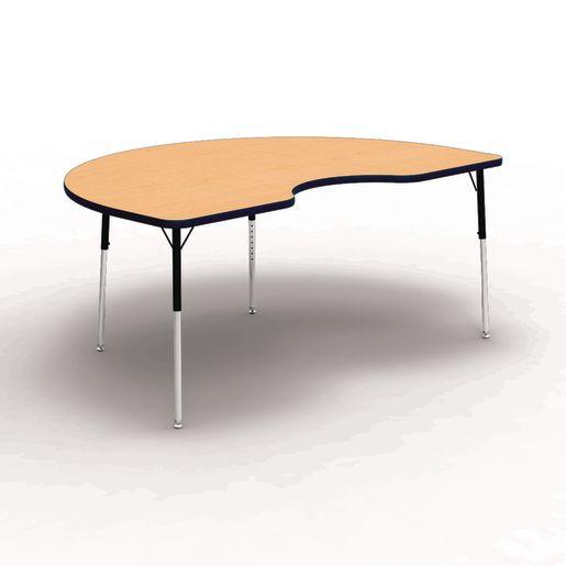"48"" x 72"" Kidney 4000 Series Preschool Table - Maple / Navy"