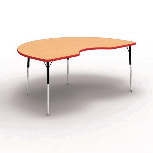 "48"" x 72"" Kidney 4000 Series Preschool Table - Maple / Red"