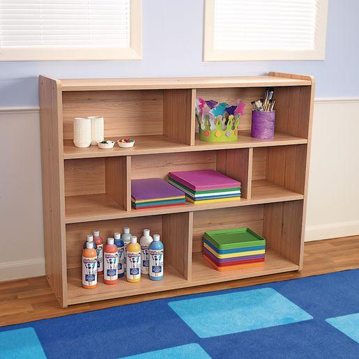 """3-Shelf Storage Unit, 38""""H - Natural Alder, Assembled"""