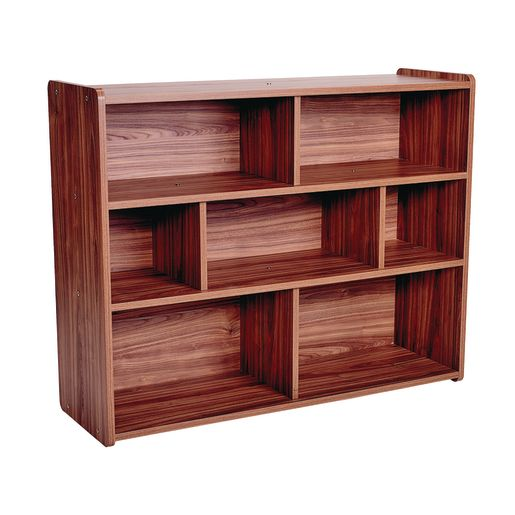 """Divided 3-Shelf Storage Unit, 38""""H - Natural Walnut, Assembly Required"""
