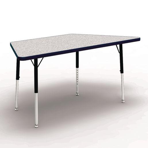 "30"" x 30"" x 60"" Trapezoid 4000 Series Preschool Table - Gray / Navy"