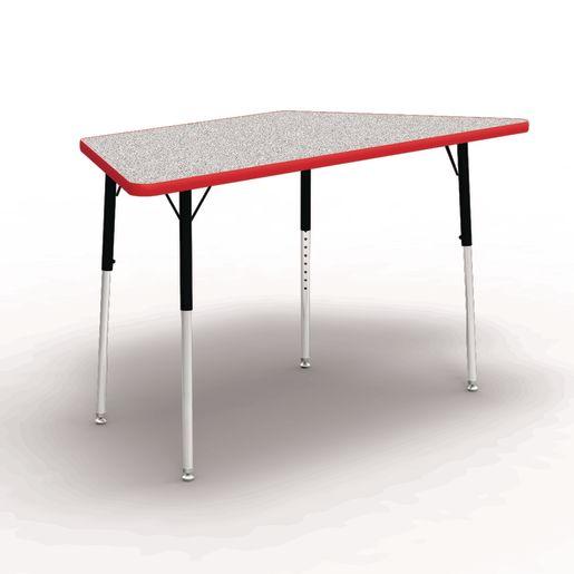 "30"" x 30"" x 60"" Trapezoid 4000 Series Preschool Tables - Gray / Red"