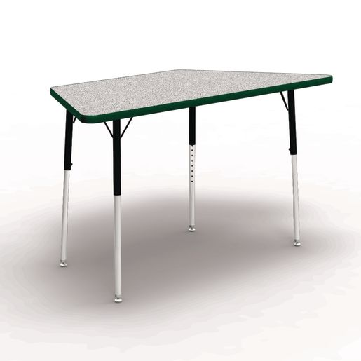 """30"""" x 30"""" x 60"""" Trapezoid 4000 Series Preschool Tables - Gray / Forest"""