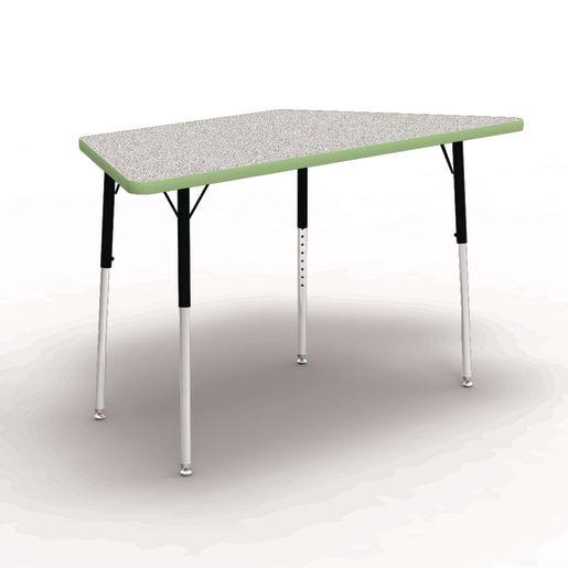"30"" x 30"" x 60"" Trapezoid 4000 Series Preschool Tables - Gray/Apple"