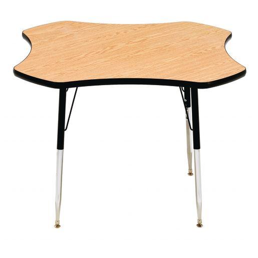"48"" Clover Table, 22-30H"" - Oak / Black"
