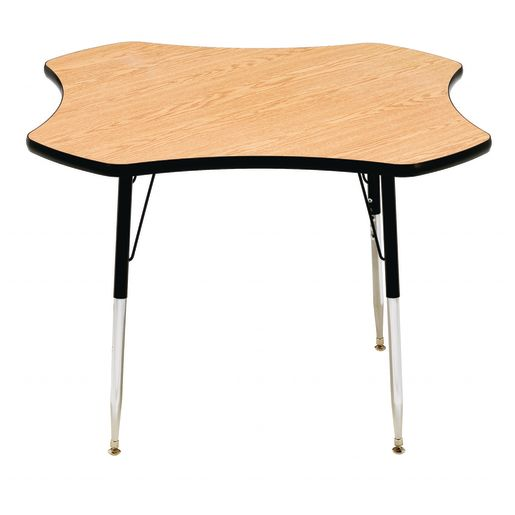 """48"""" Clover Table, 22-30"""" - Teak / Black"""