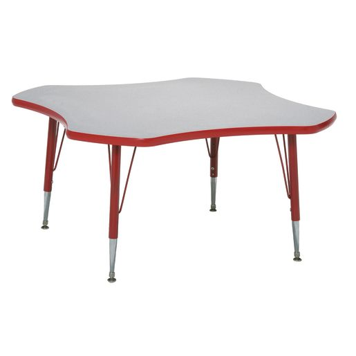 """48"""" Clover Table, 18-25""""H - Gray/Red"""