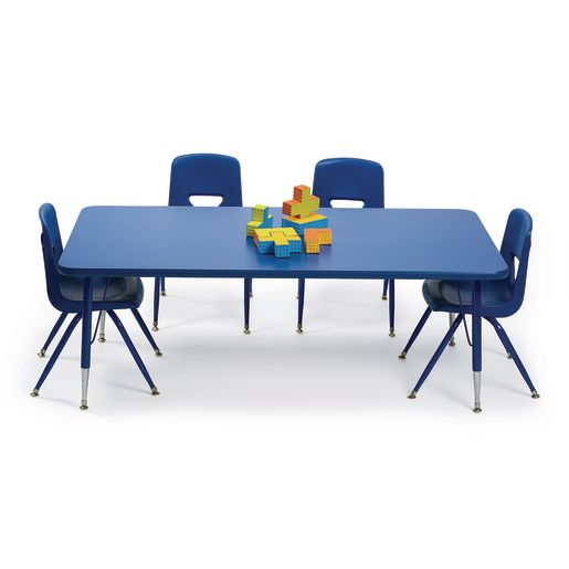"30"" x 60"" Blue Table with Matching Legs - 18""-25""H"