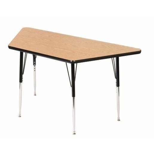 "30"" x 60"" Trapezoid Table, 18-25""H - Oak/Black"