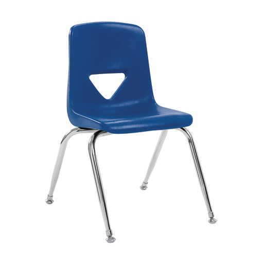 "7-1/2"" Stacking Chair with Chrome Legs, S/5 - Blue"