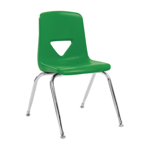 """7-1/2"""" Stacking Chair with Chrome Legs, S/5 - Green"""