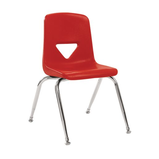 """7-1/2"""" Stacking Chair with Chrome Legs, S/5 - Red"""