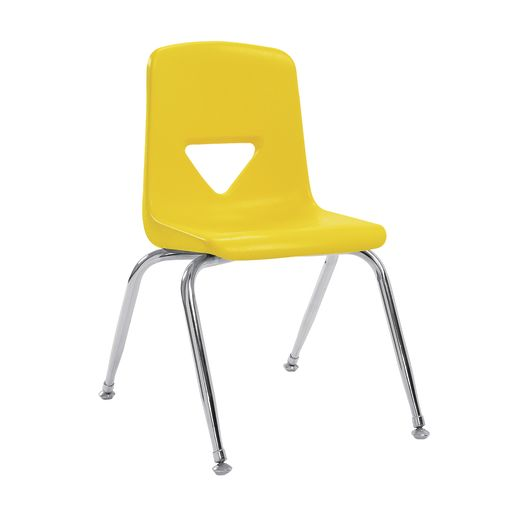 "7-1/2"" Stacking Chair with Chrome Legs, S/5 - Yellow"