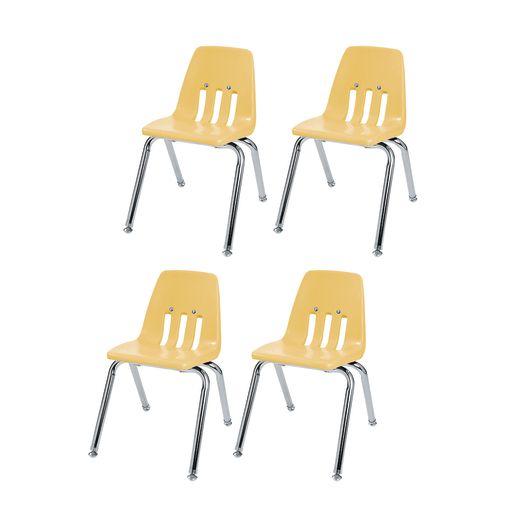 "10"" Virco 9000 Chair w/Chrome Legs 4-PK - Yellow"
