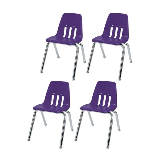 "10"" Virco 9000 Chair w/Chrome Legs 4-PK - Purple"
