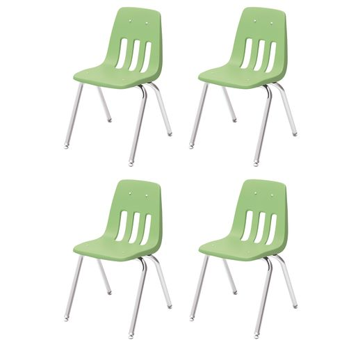 "10"" Virco 9000 Chair w/Chrome Legs 4-PK - Light Green"