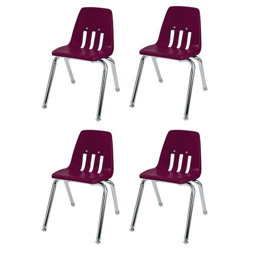 """10"""" Virco 9000 Chair w/Chrome Legs 4-PK - DK Red"""