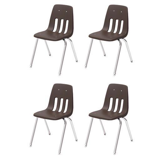 """10"""" Virco 9000 Chair w/Chrome Legs 4-PK - Brown"""