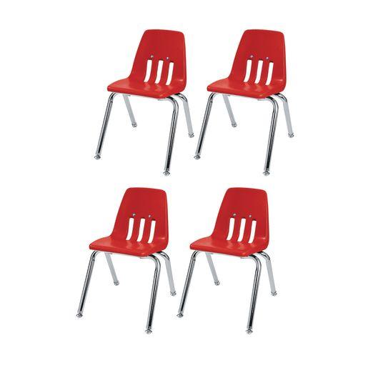 """12"""" Virco 9000 Chair w/Chrome Legs 4-PK - Red"""
