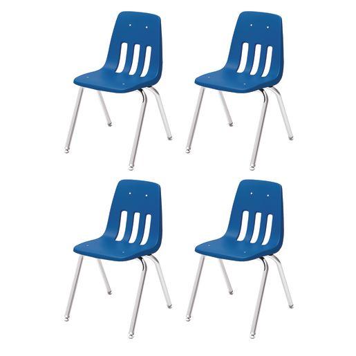 """14"""" Virco 9000 Chair w/Chrome Legs S/4 - Cobalt"""