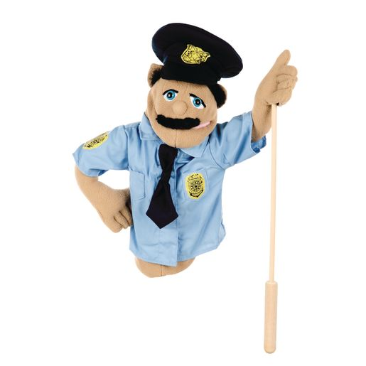 Image of Melissa and Doug Police Officer Puppet with Detachable Wooden Rod