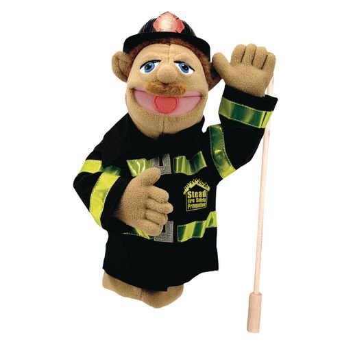 Image of Melissa and Doug Firefighter Puppet with Detachable Wooden Rod