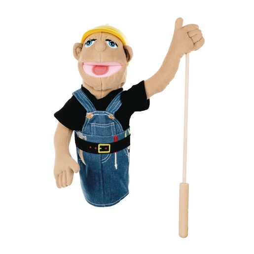 Image of Melissa and Doug Construction Worker Puppet with Detachable Wooden Rod