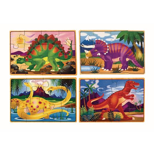 Image of Melissa & Doug Dinosaurs 4-in-1 Wooden Jigsaw Puzzles in a Storage Box 48-Pieces