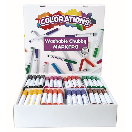 Image of Colorations Washable Chubby Markers Classroom Pack Set of 128