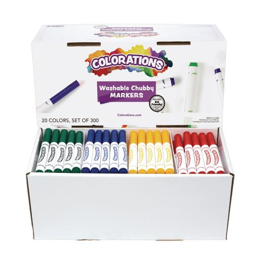 Image of Colorations Washable Chubby Markers, Popular Colors Pack - Set of 200