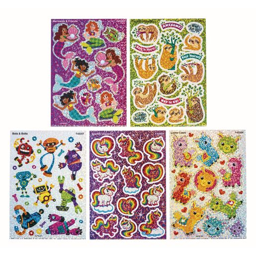 Fun Character Sparkle Stickers 10 Sheets