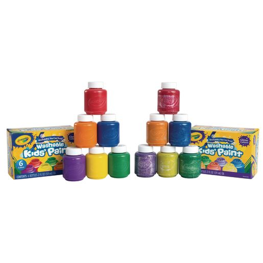 Crayola® Washable Kids' Paint 6 Glitter Colors and 6 Classic Colors, 2 oz. Bottles Set of 12