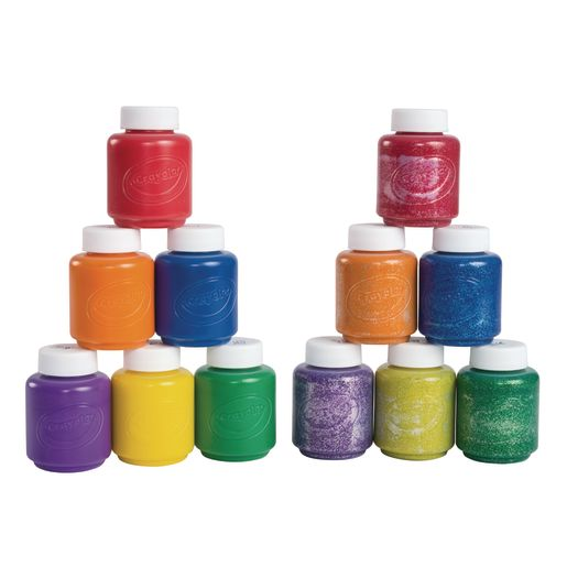 NEW 6 PACK CRAYOLA WASHABLE OFF CLOTHES KIDS PAINT SET CLASSIC COLORS NON-TOXIC