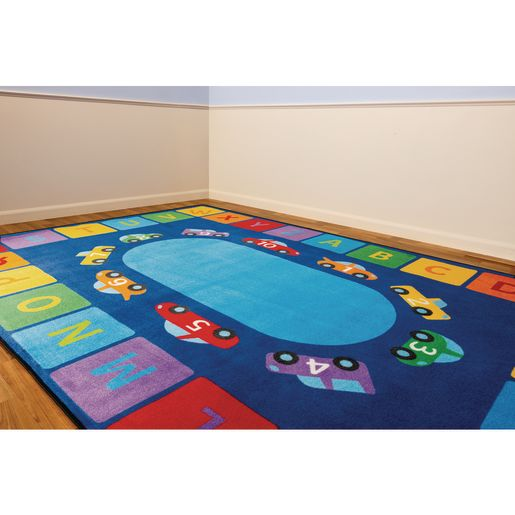 Alphabet Counting Cars Premium Carpet - 6' x 9' Rectangle