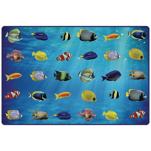 Friendly Fish Seating 6' x 9' Rectangle Pixel Perfect Carpet