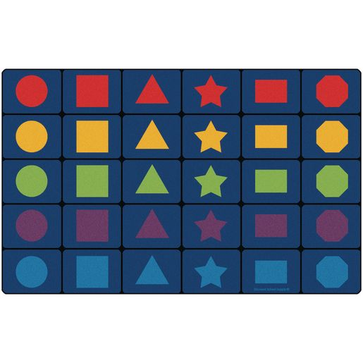 """MyPerfectClassroom® Learning Shapes Seating Rug - 7'6"""" x 12' Rectangle"""