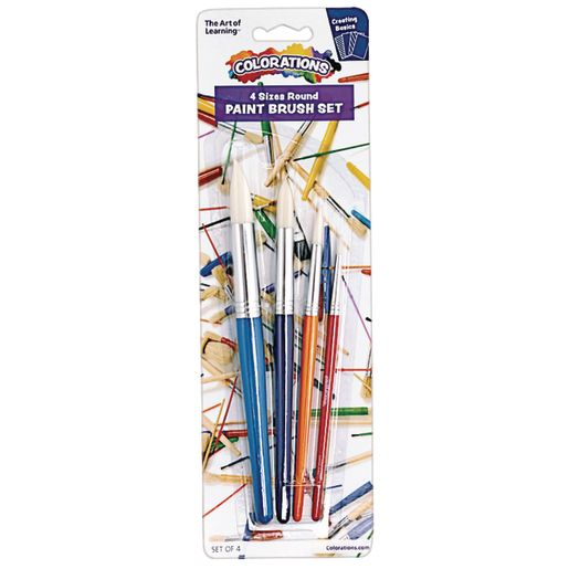 Image of Paint Brushes, Colorations, Round, Set of 4 Assorted Sizes, Ideal for Most Paint Mediums