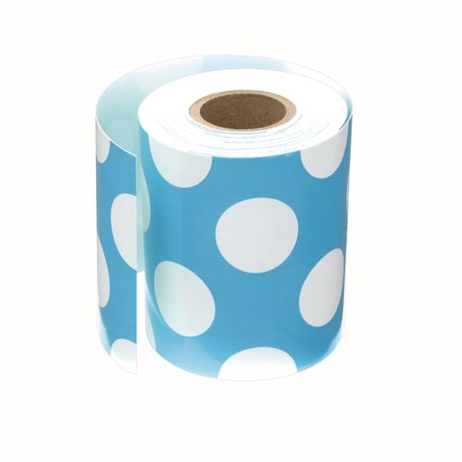 "Rolled Straight Border - Teal with Polka Dots 3"" x 36'"