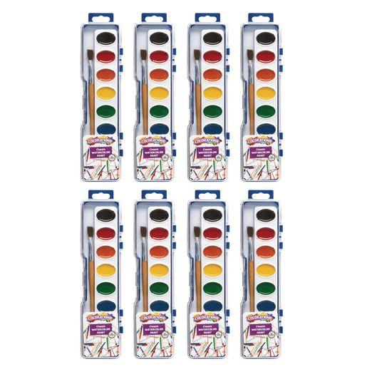 Colorations® Regular Best Value Watercolor Paints, 8 Palettes, 8 Colors ea