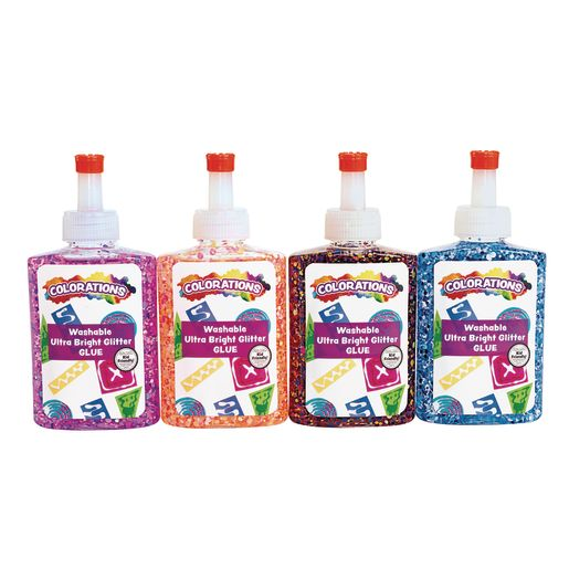Ultra Bright Glitter Glue, Colorations, Set of 4, 4 oz