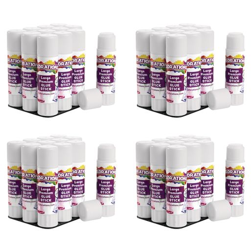 Colorations® Premium Washable White Glue Sticks in a Tray, set of 48, 0.88 oz ea