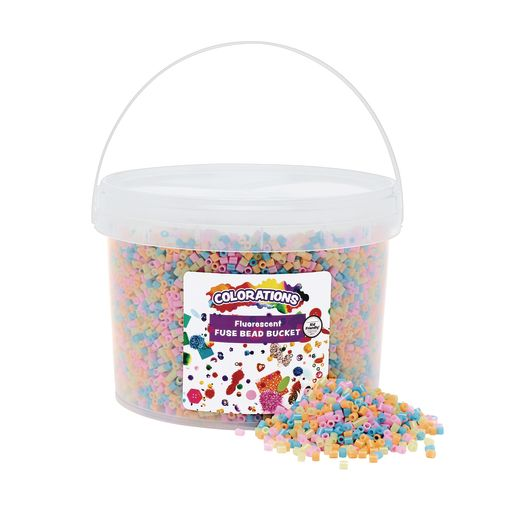 Image of Colorations Fluorescent Fuse Beads & 6 Pegboards in a Bucket - 22,000 Beads