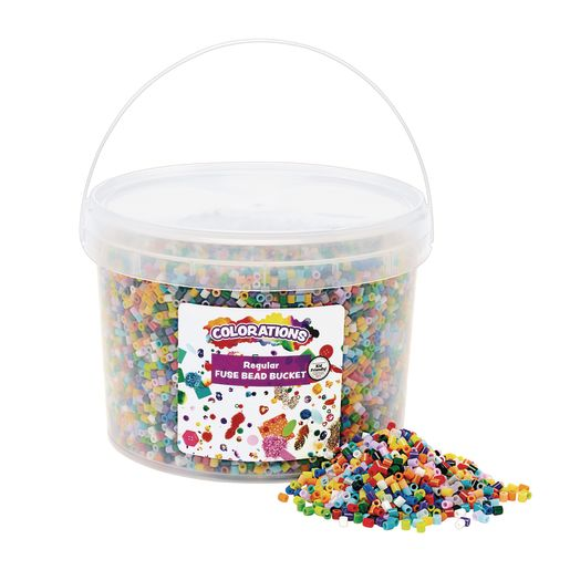 Image of Colorations Regular Fuse Beads & 6 Pegboards in a Bucket - 22,000 Beads