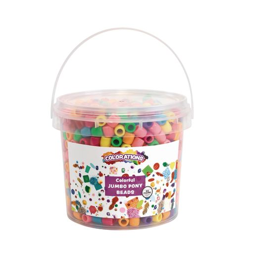 Image of Colorations Colorful Jumbo Pony Beads - 1.5 Pounds