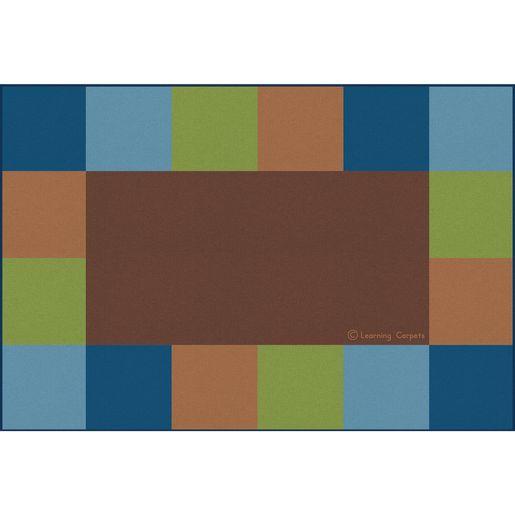 "Grid Border Premium Carpet, Natural - 8'5"" x 11'9"" Rectangle"