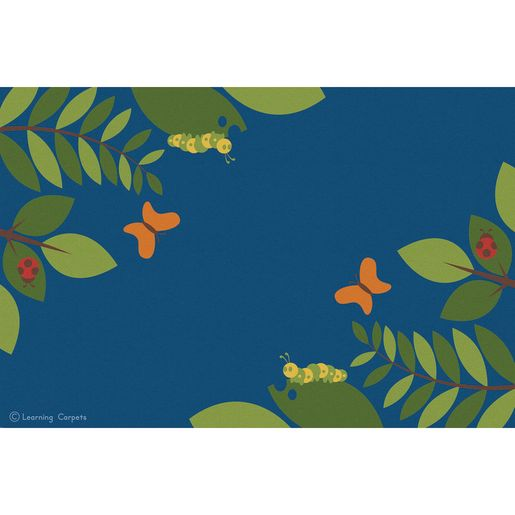 Fern Corner Premium Carpet, Blue - 6' x 9' Rectangle