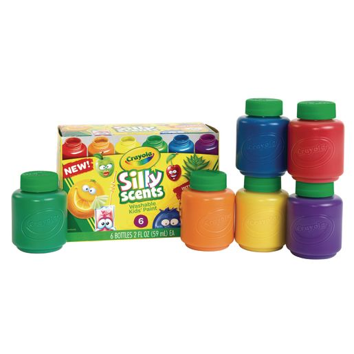 Image of Crayola Silly Scent Washable Kids Paint, 6 colors, 2 oz. Bottles